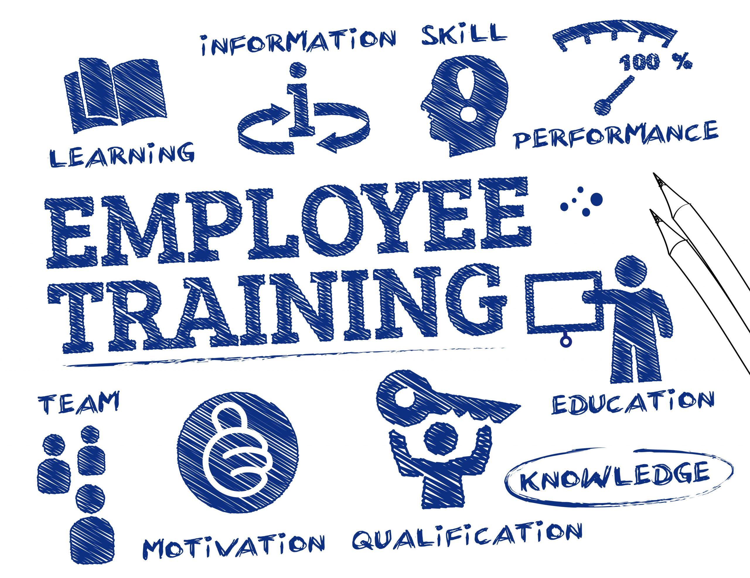 employee engagement - training word image with keywords and icons